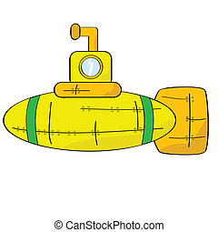 Yellow submarine - Cartoon illustration of a yellow, orange...