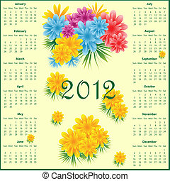Calendar 2012 with flowers