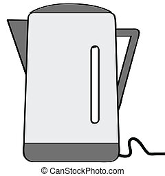 Electric Kettle - Cartoon illustration of a silver and black...