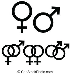Male and female signs - Male and female icon signs presented...