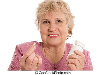 The elderly woman with tablets - Elderly woman with tablets...
