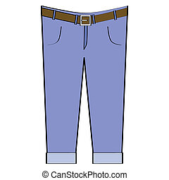 Blue jeans - Cartoon illustration of a pair of blue jeans