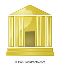 Golden bank - Glossy illustration of a golden greek style...
