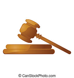 Isolated Gavel - Glossy illustration of a wooden gavel over...