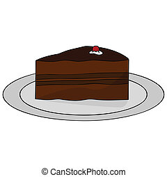 Chocolate cake - Cartoon illustration of a thick slice of...