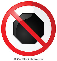 No stopping sign - Glossy illustration of a no stopping sign