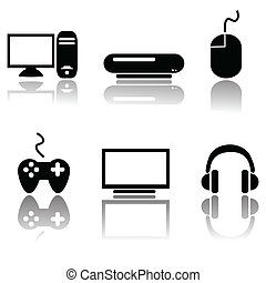 Videogame icons - Set of six different icons related to...