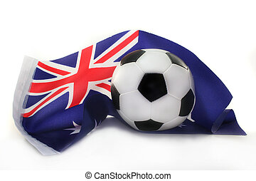 Soccer World Cup 2010 - States flag and a football on white...