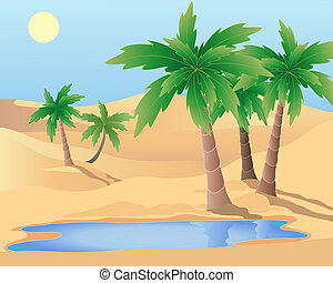 oasis - an illustration of a desert oasis with palm trees...