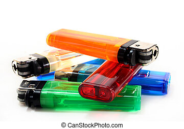 Lighter - colorful lighters in front of white background