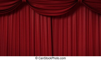 opening red theatrical curtain with spotlights