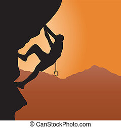 Rock climbing. Vector illustration for you design