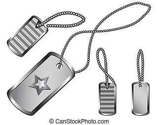Dog Tag Set - Set of silver dog tags with circular chains...
