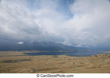 Panorama of mountain lake - Khoton Nuur lake Khoton in...