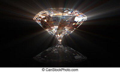 beautiful diamond, withwithout a shine, seamless loop 3d...