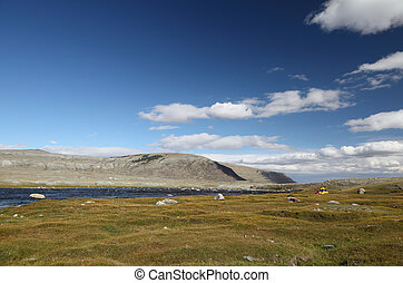 Camp at riverbank - Khoton Nuur lake Khoton in Mongolian...