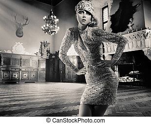 Beautiful lady posing in a vintage interior - bw version