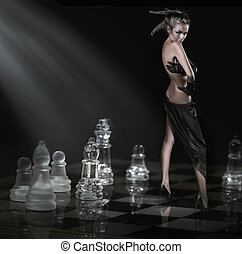 Pretty brunette standing on a chessboard