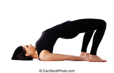 woman back bends yoga - bridge pose isolated - young woman...