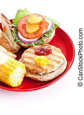 Healthy Turkey Burger - Vertical - Vertical isolated view of...