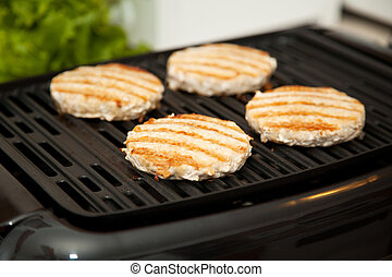 Grilling Turkey Burgers - Healthy, low-fat turkey burgers...