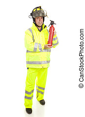 Fireman with Fire Extinguisher - Fire fighter with fire...