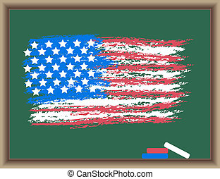 Flag of USA on a blackboard