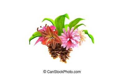 growing flowers with leafs and pine cones, 3d animation