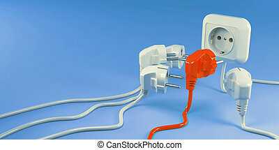 Plugs and Socket. Conceptual image of individuality. 3d