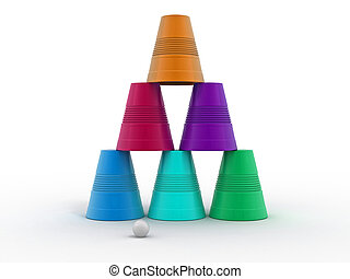 Pyramid from inverted plastic cups on isolated background 3d...