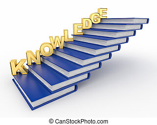 Word knowledge on books as staircase 3d