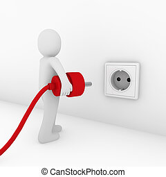 3d man plug socket red energy bio power