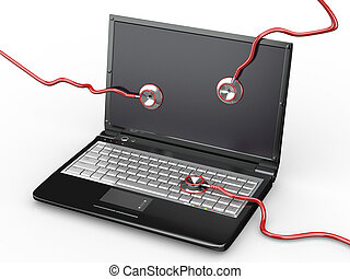 Service for laptop repair. Laptop and stethoscope - Service...