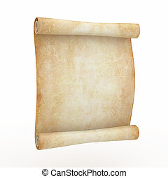Vintage aged papyrus on white isolated background 3d
