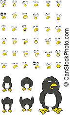 penguin cartoon set
