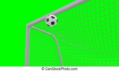 shot on goal, slow motion 3d animation on green background