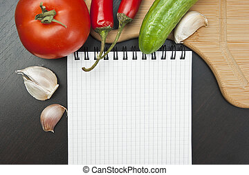 vegetables and cooking utensils