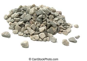 Crushed stone - Pale of crushed stone isolated on white