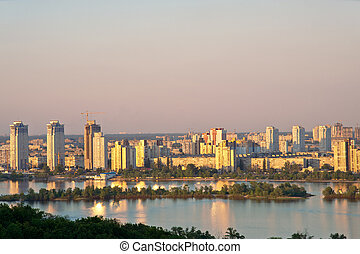 Modern Kiev - Panorama of Left Bank residential neighborhood...