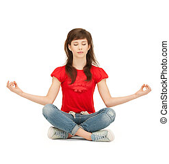 calm attractive teenage girl in lotus pose - bright picture...