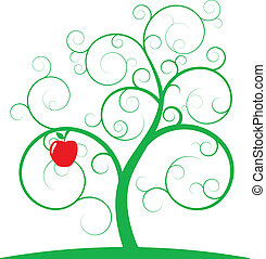 apple spiral tree - illustration of green spiral tree with...