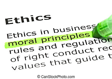 Moral principles highlighted in green, under the heading...