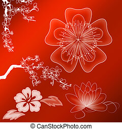 Beautiful illustrated flower background design with gradient