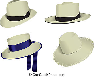 Four Panama vector hats - Four Panama hats isolated on white...