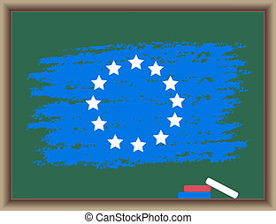Flag of Europe on a blackboard