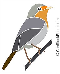 European Robin - Picture and stencil of a bird.
