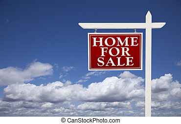 Red Home For Sale Real Estate Sign Over Clouds and Sky - Red...
