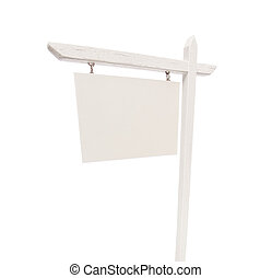 Blank Real Estate Sign on White