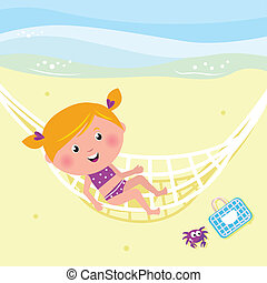 Happy beauty girl relaxing in the hammock near beach