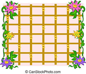 Grid Frame with Flowers